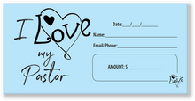 Love Your Pastor Blue Offering Envelope