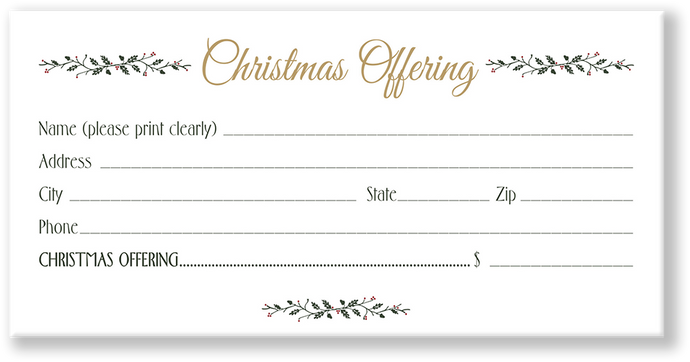 Christmas Offering Envelope White