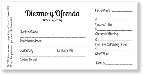 Spanish Offering Envelopes
