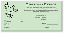 Spanish Church Tithing Envelopes Green