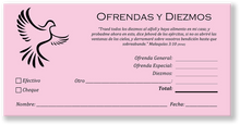 Spanish Church Tithing Envelopes Pink