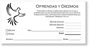 Spanish Church Tithing Envelopes White