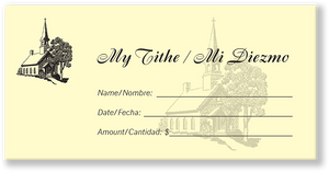 Spanish Church Tithing Envelopes Yellow