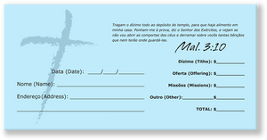 Portuguese Church Tithing Envelopes Blue