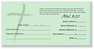 Portuguese Church Tithing Envelopes Green