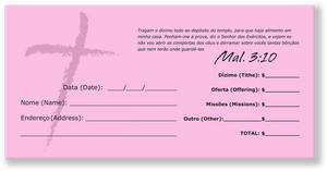 Portuguese Church Tithing Envelopes Pink