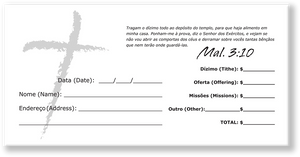 Portuguese Church Tithing Envelopes White