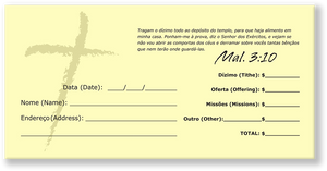 Portuguese Church Tithing Envelopes Yellow