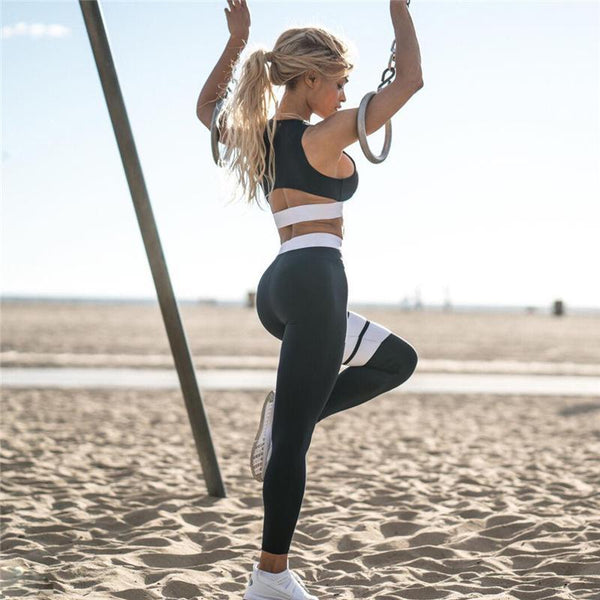 Activewear - 2 Pieces Crop Tank Striped Leggings