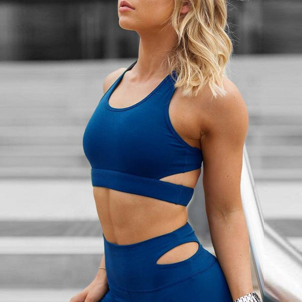 Activewear - Backless Two Piece Set Splice Tracksuit