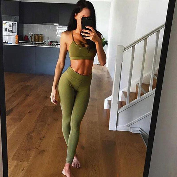 Activewear - Bandages Backless Two Piece Set