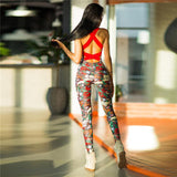 Activewear - Colourful Backless Camouflage Playsuit