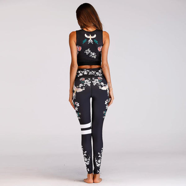Activewear - High Waist Elastic , Print Stitching Tracksuit
