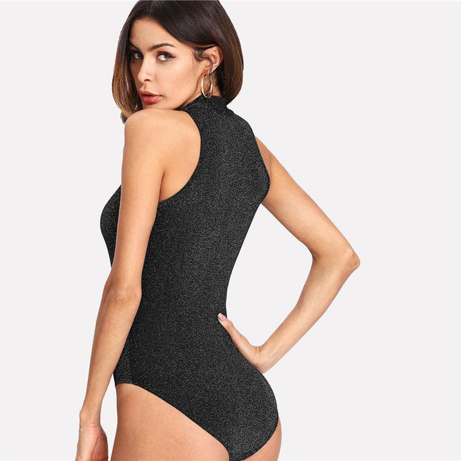 Bodysuit - Black Mock Neck Bodysuit