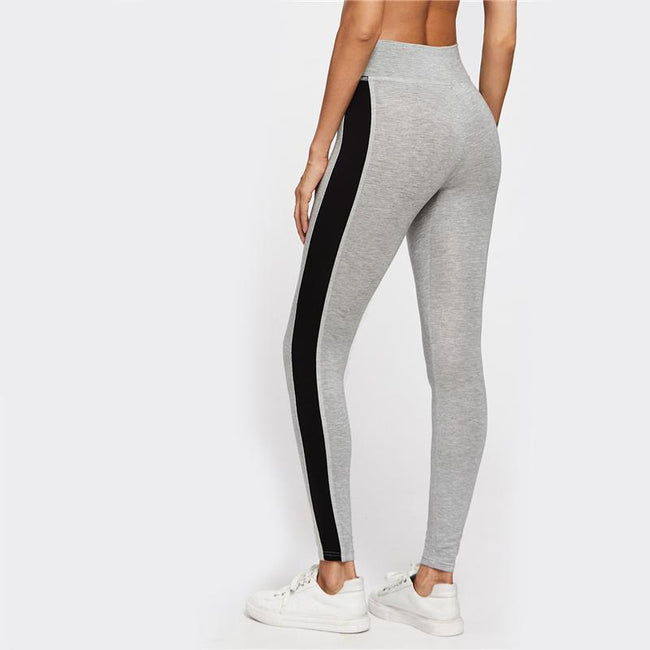 Bottoms - Contrast Panel Side Heather  Leggings