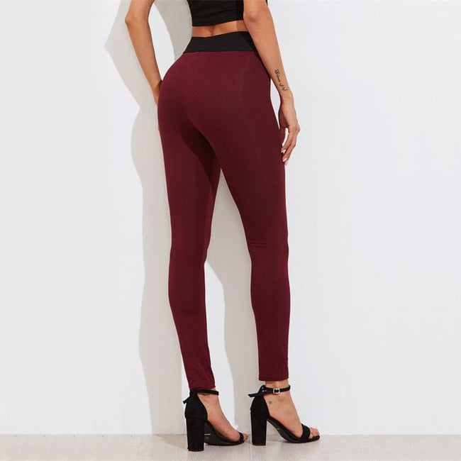 Bottoms - Contrast Waist Skinny Leggings