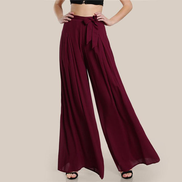 Bottoms - Self Tie Fold Pleated Palazzo Pants