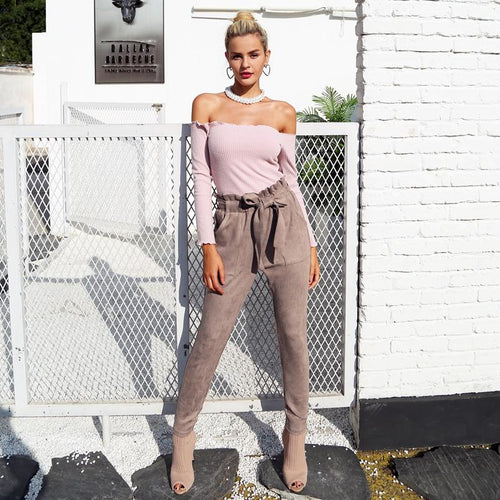 Bottoms - Suede High Waisted  Pants
