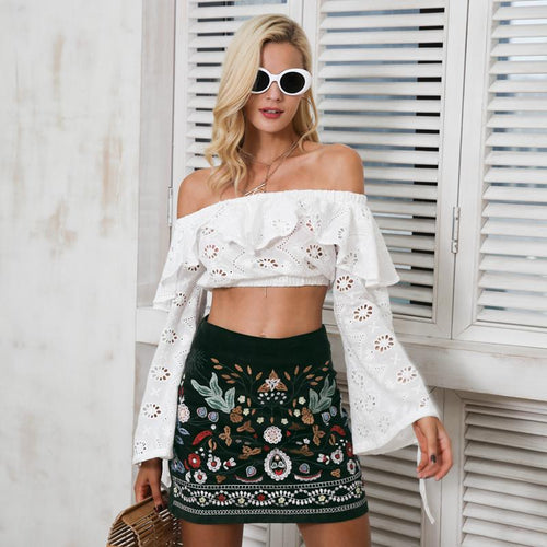 Bottoms - Vintage High Waisted Embroid Skirt