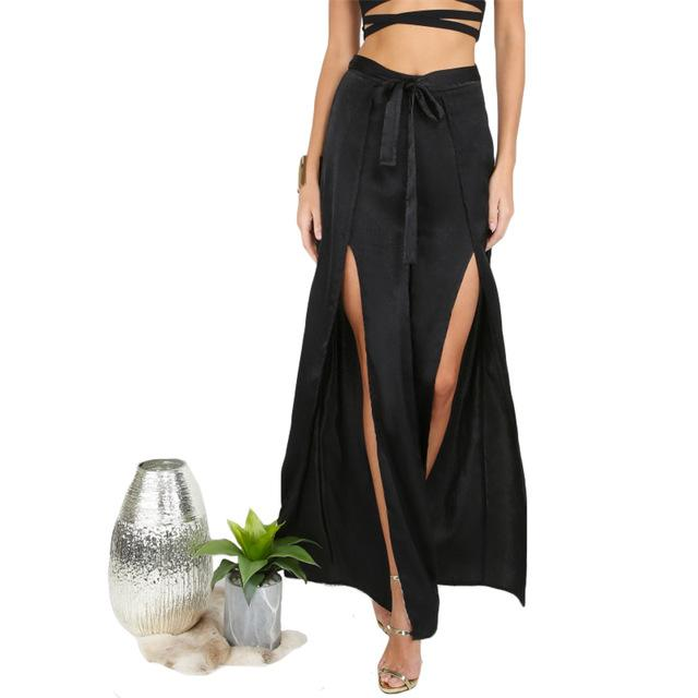 Bottoms - Waist Tie Slit Pants