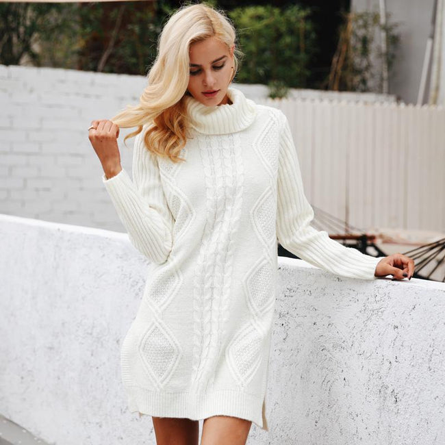 Dresses - Turtleneck Knitted Dress