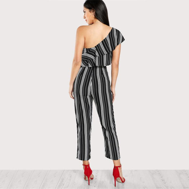 Jumpsuit - Black And White Striped Jumpsuit