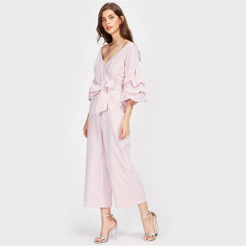 Jumpsuit - Drop Shoulder Gathered Sleeve Jumpsuit