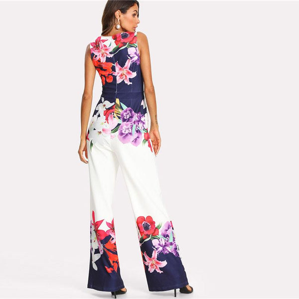 Jumpsuit - Flower High Waist  Jumpsuit