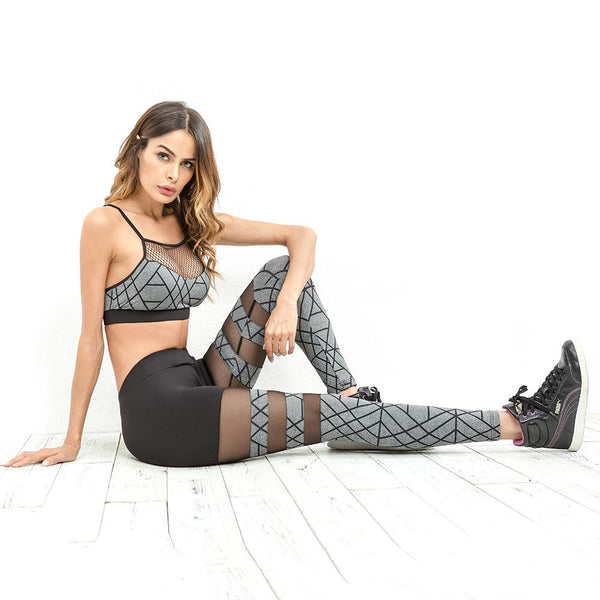 Leggings - Dark Line Patchwork Mesh Leggings
