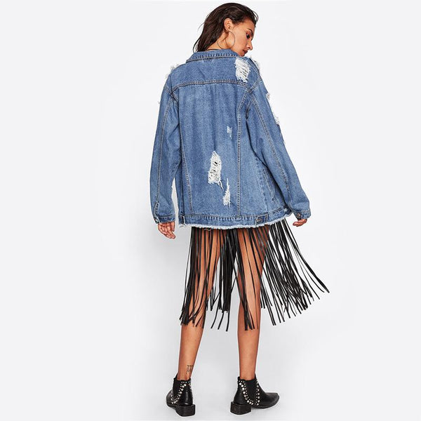 Outerwear - Destroyed Boyfriend Denim Jacket
