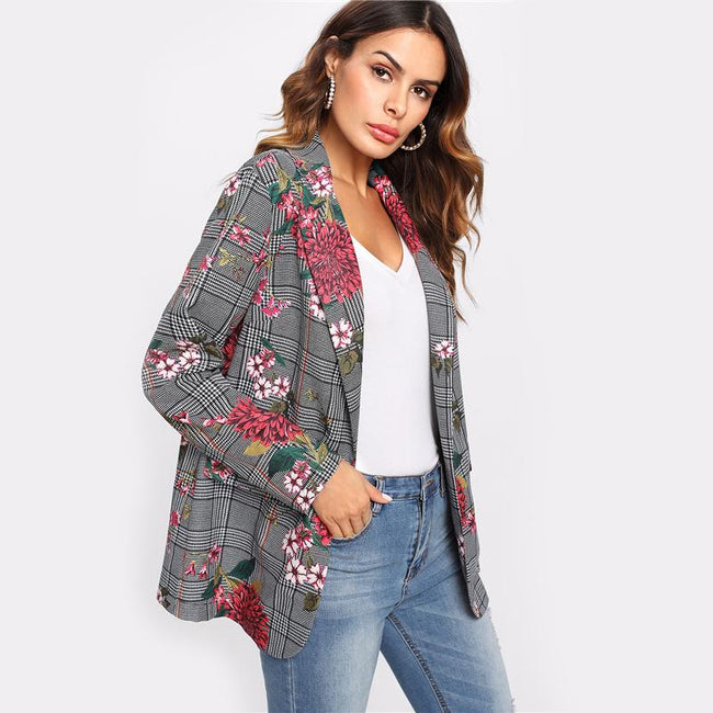Outerwear - Plaid Floral Blazer