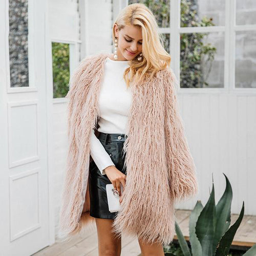 Pink Long Faux Fur Coat
