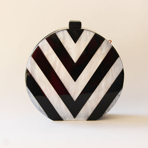 Evening Black an White Pattern Clutch