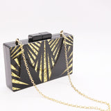 Black and Gold gold Crystal chain Clutch