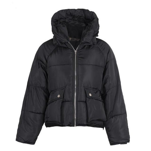 Zipper Pocket Hooded Loose Coat Parka