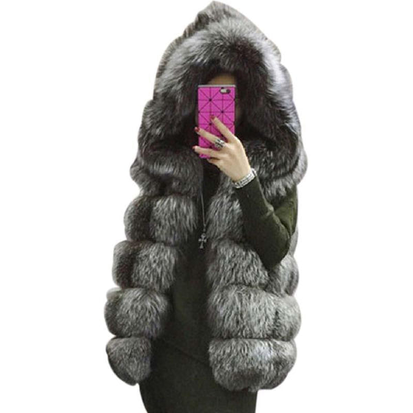 Thick Warm Faux Silver Fox Fur Vest
