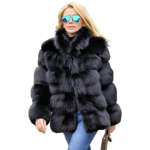 Collar Long Sleeve Faux Fur Jacket