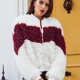 V Shape Red Splice Fur Coat