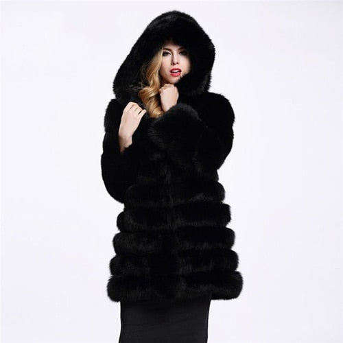 Faux Mink Fur Coat With Hoody