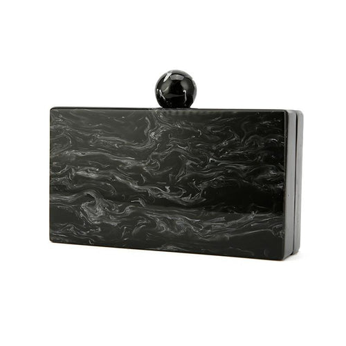 Pearl Black Marble Clutch