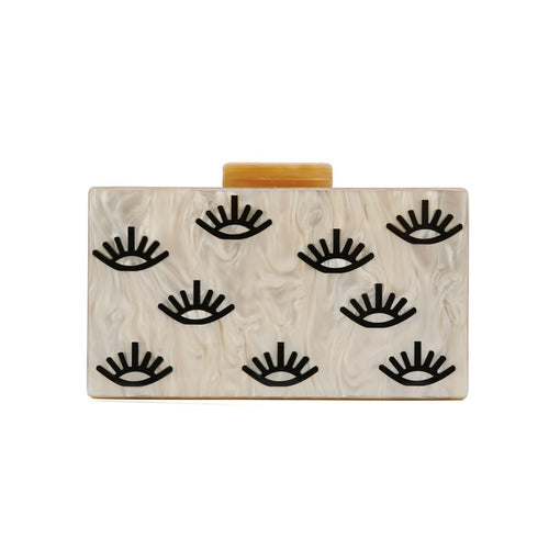 Nude Color Eye Printing Clutch