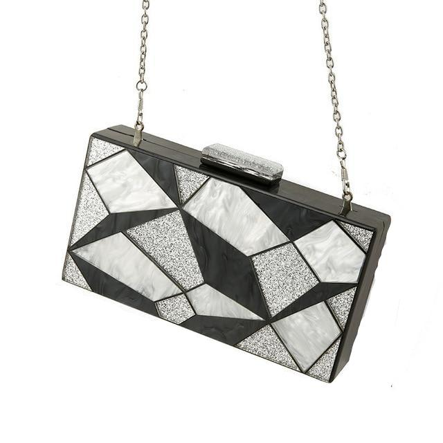 Black and Silver Pearl Clutch