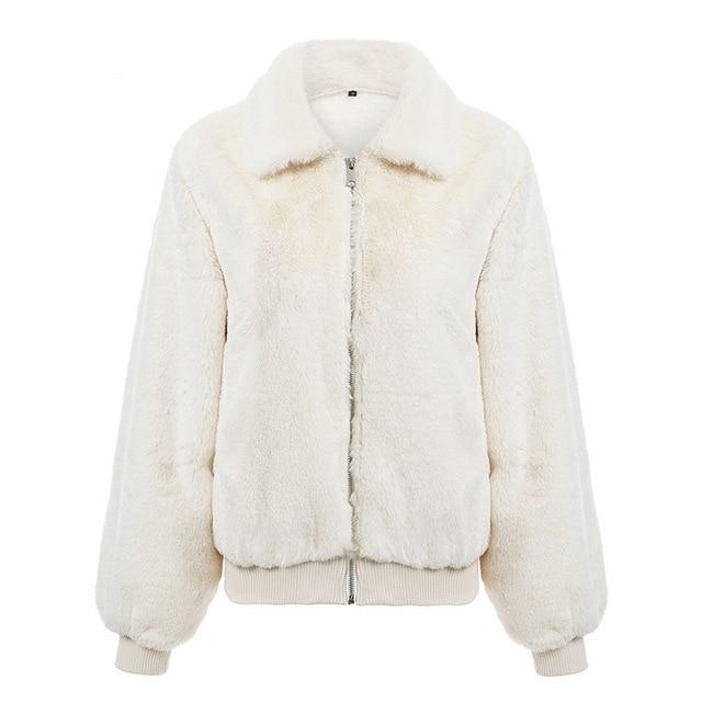 White Tick Fluffy Solid Coat