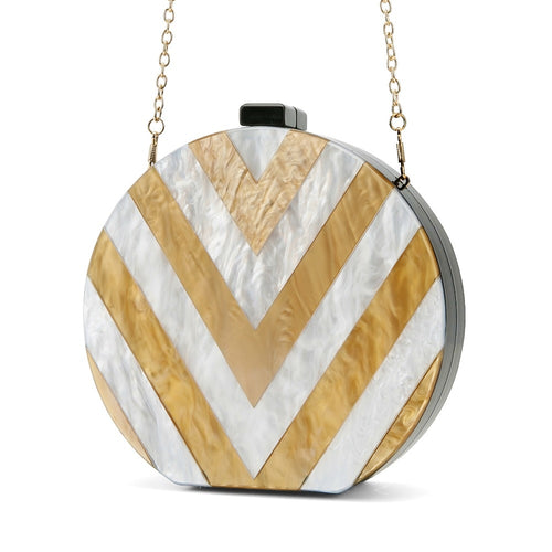 Gold Girl White and Gold Clutch