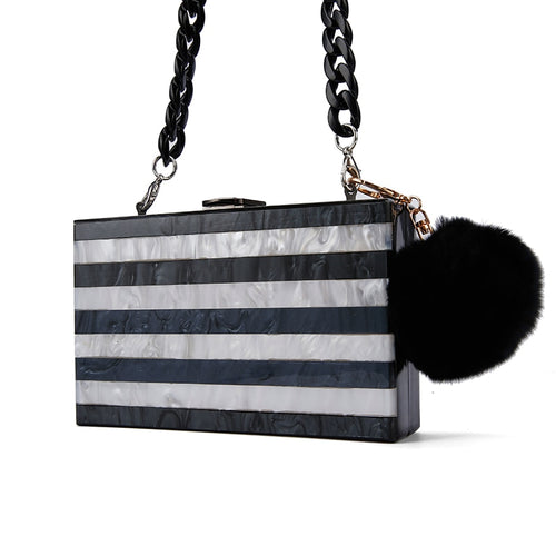 Black And White Pearl Stripe Clutch