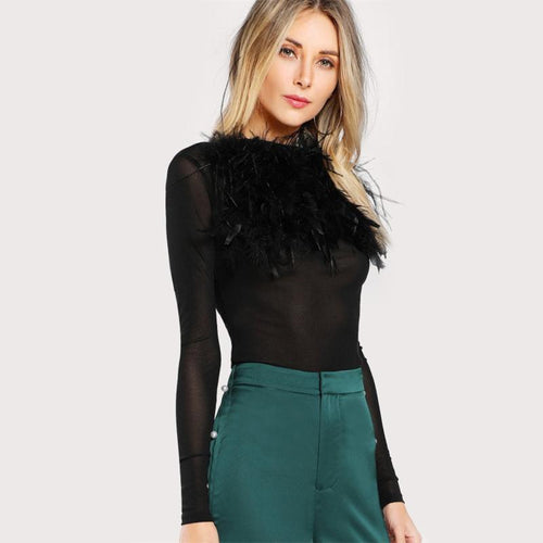 Top - Black Stand Collar AutumnTop