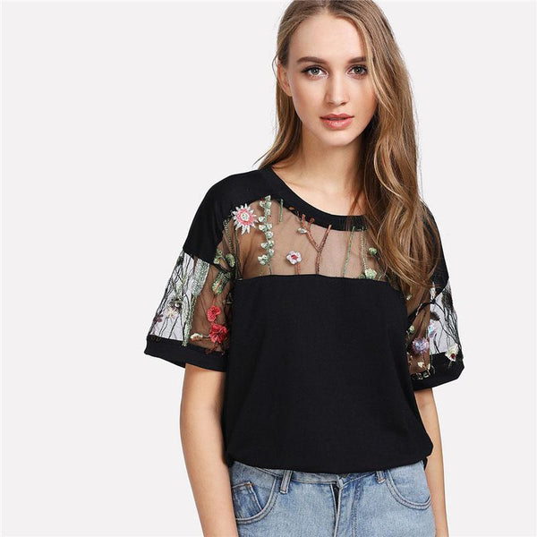 Top - Embroidered Mesh Yoke Top