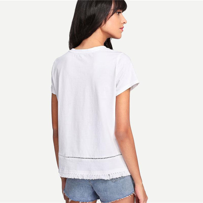 Top - Embroidered Pocket Lace Casual Tshirt