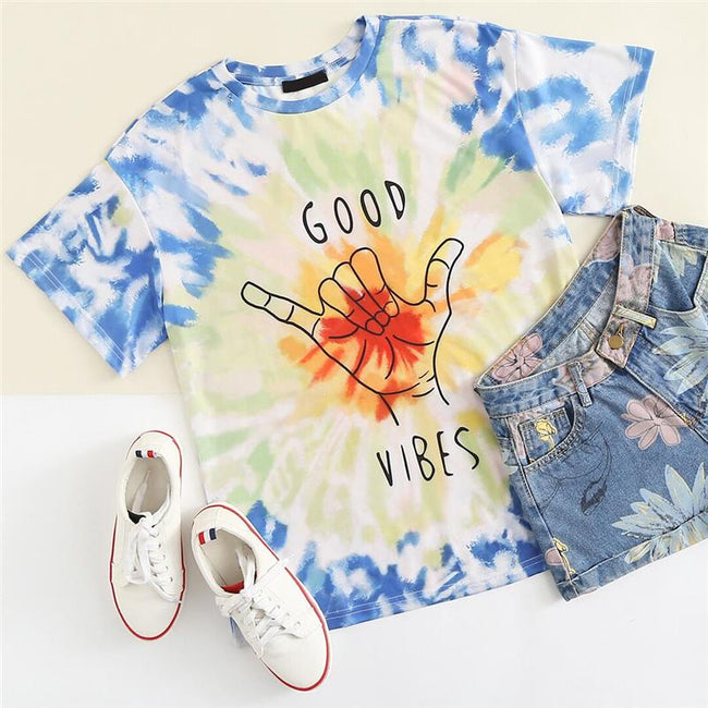 Top - Graphic Letter Print Tie Dye Tee