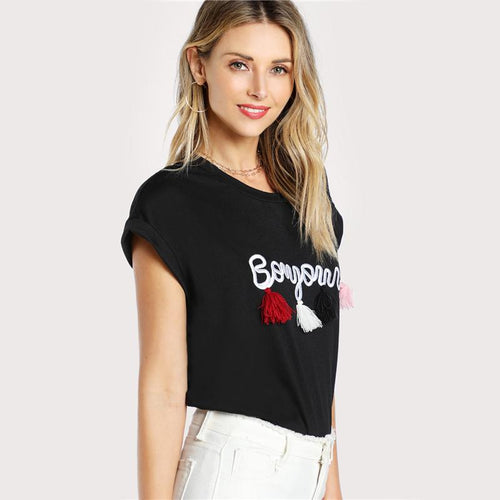 Top - Tassel Detail Embroidery Dolman T-Shirt